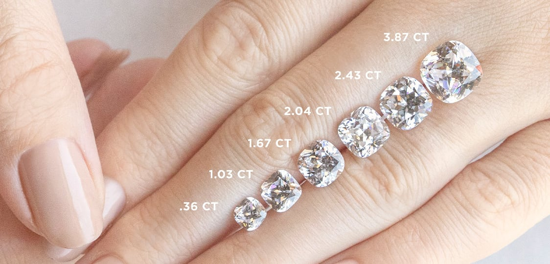 An image showing the difference in diamond carat weight