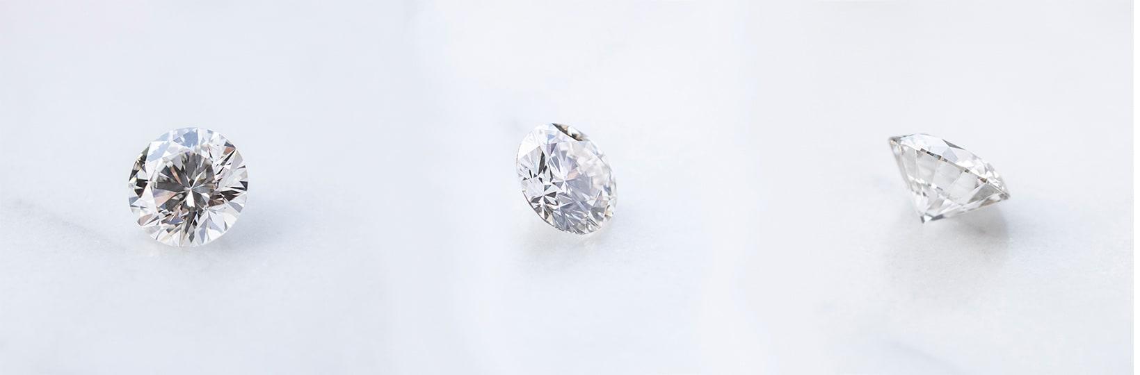 Three round cut Nexus Diamond™ alternatives