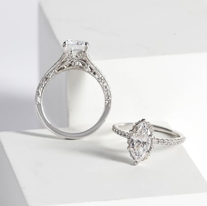 Two Edwardian-inspired vintage engagement rings