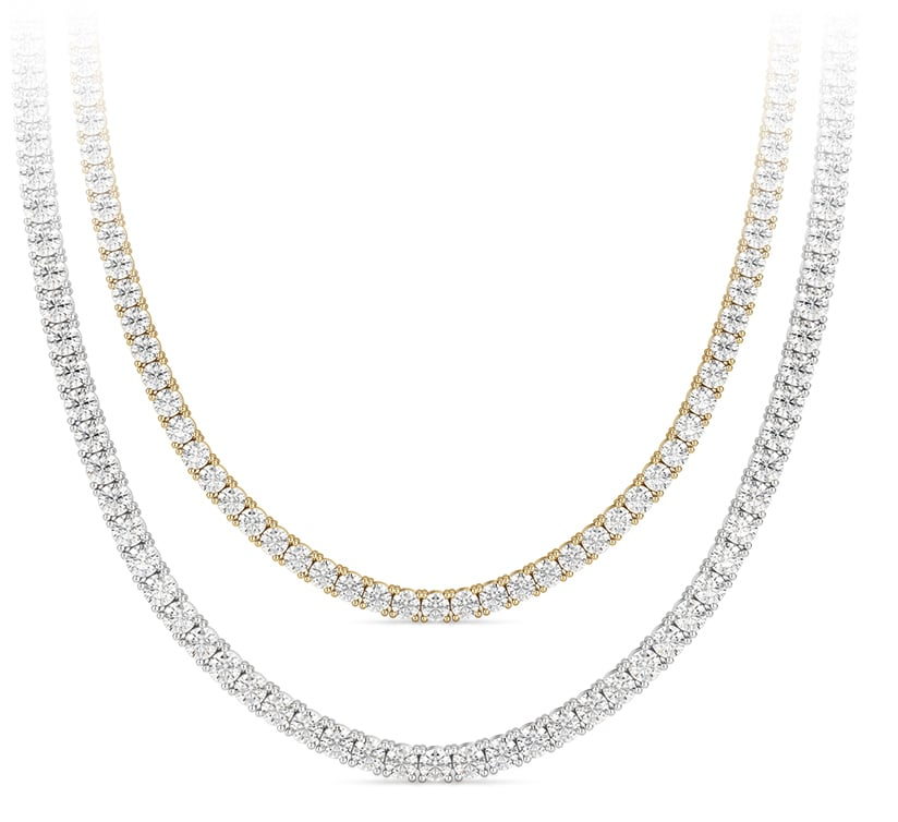 Two accented chokers featuring diamond alternatives