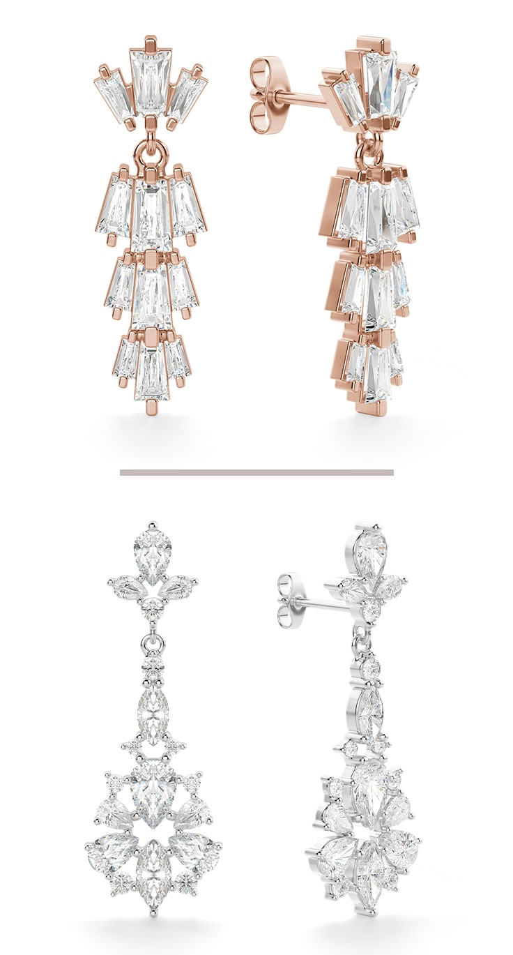 Two pairs of chandelier earrings